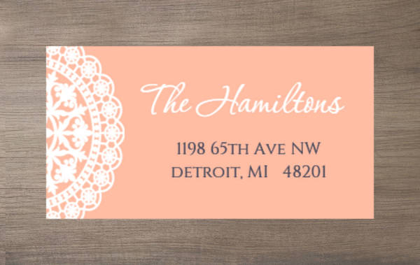Old Fashion Style Pink with White Lace Address Label