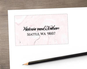 Faux Rose Gold and Blush Marble Address Label