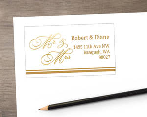 Gold Mr and Mrs Address Label