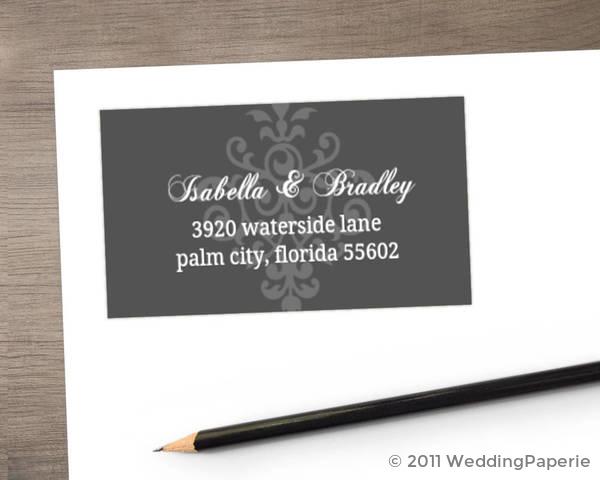 Gray and Elegant White Flourish Address Label