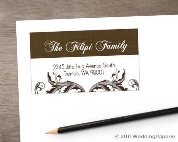 Elegant Textured Brown Address Label
