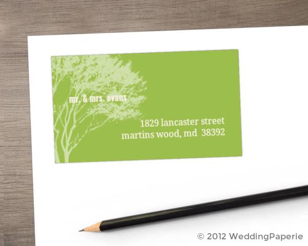 Cream and Green Rustic Tree Address Label