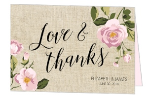 Soft Pink Flowers Thank You Card