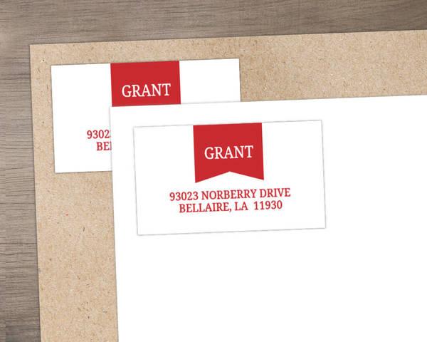 Red Modern Banner Address Label