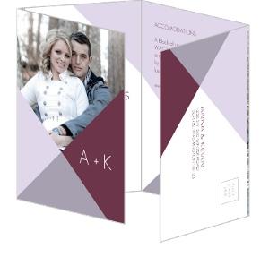 Modern Geometric Lavender Accordion Wedding Invitation