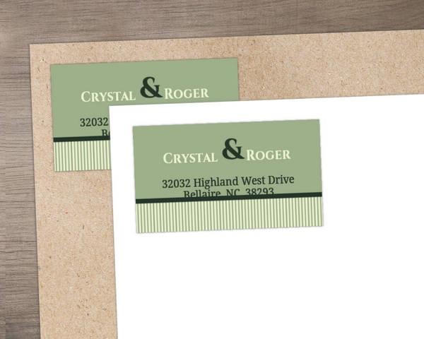 Modern Kiwi and Gray Stripes Address Label