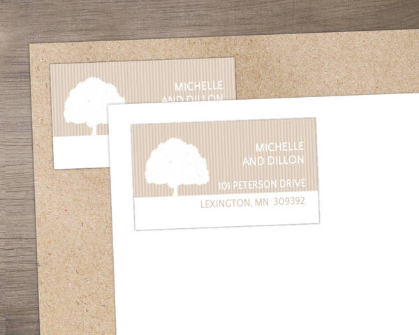 Dusty Rose and White Grand Tree Address Label