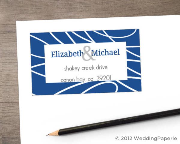 White Scattered Lines and Blue Address Label