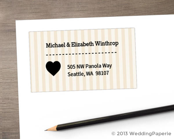 Cream and Black United States Map Address Label Wedding Address