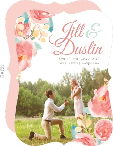 Pink Elegant Watercolor Flower Save the Date