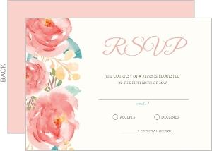 Pink Elegant Watercolor Flower Wedding Response Card