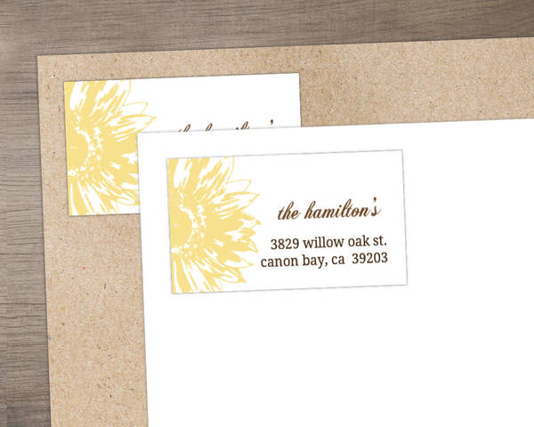 Simple Sunflower Brown and Yellow Address Label