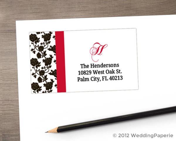 Romantic Roses Black and Red Address Label