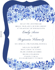 Handpainted Blue Floral Watercolor Wedding Invitation