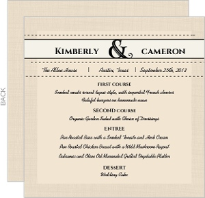 Western Love Wedding Menu