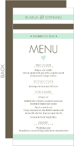 Mint and Brown Soft Stripes Wedding Menu Card