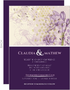 Elegant Purple Floral Wedding Invite