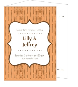 Fall Wheat Orange and Brown Wedding Program