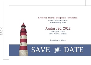 Cape Cod Lighthouse Themed Save The Date Announcement