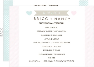 Two Hearts Whimsical Wedding Program