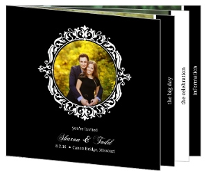 Black Floral Monogram Booklet Wedding Invitation