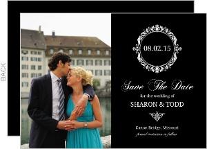 Black Floral Monogram Save The Date Announcement