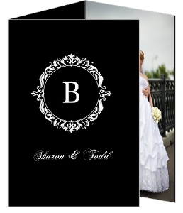 Black Floral Monogram Wedding Thank You Card