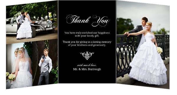 Black Floral Monogram Wedding Thank You Card Wedding Thank You Cards