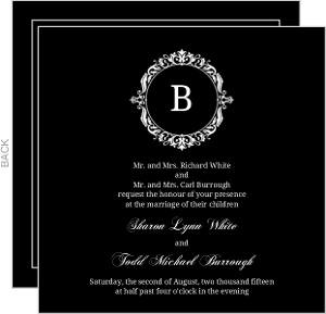 Black Floral Monogram Wedding Invitation
