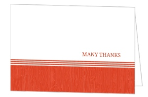 Tangerine and White Modern Stripe Thank You Card