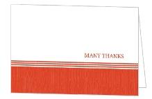Tangerine and White Modern Stripe Thank You Card