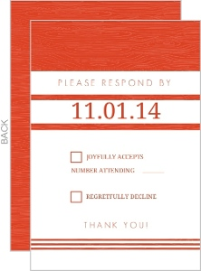 Tangerine and White Modern Stripes Response Card