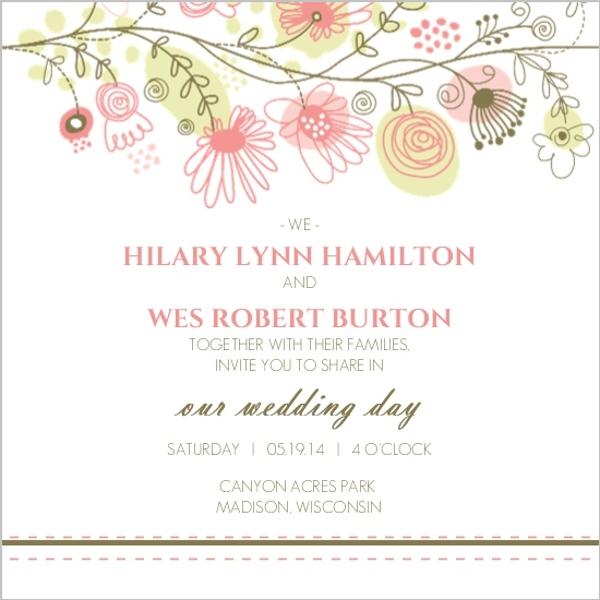 Spring Floral Border Wedding Invitation Wedding Invitations