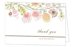 Spring Floral Border Thank You Card