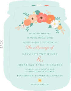 Mint Green Country Floral Wedding Invitation