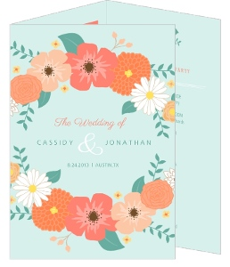 Mint Green Country Floral Wedding Program