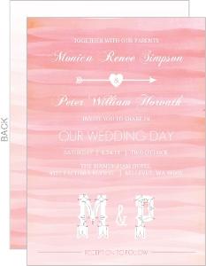 Monogram Pink Watercolor Ombre Wedding Invitation
