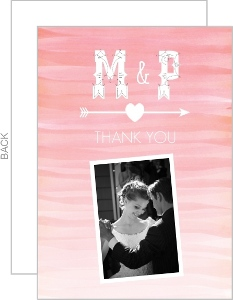 Monogram Pink Watercolor Ombre Thank You Card