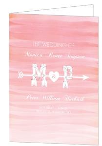 Monogram Pink Watercolor Ombre Wedding Program