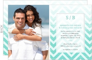 Chevron Turquoise Ombre Wedding Invitation
