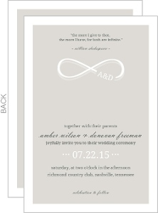 Infinity Monogram Champagne Wedding Invitation