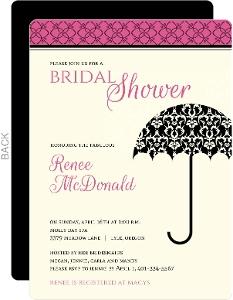 Black, Pink and Cream Damask Bridal Shower Invitation