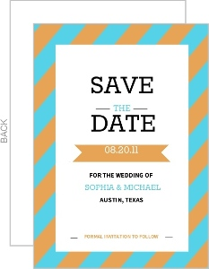 Modern Orange and Aqua Stripes Save the Date Card