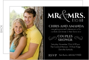 Modern Simple Black Photo Couples Shower Invite