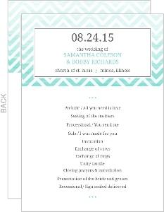 Chevron Turquoise Ombre Wedding Program