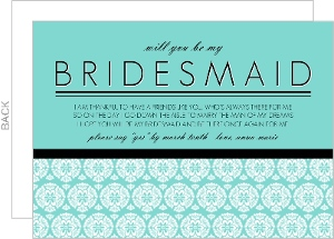 Blue and Black Pattern Will You Be My Bridesmaid Card