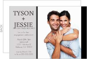 Black and Gray Modern Photo Engagement Party Invite