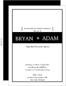 Simple and Classic Black and White Gay Wedding Invite