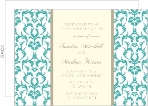 Turquoise Damask Engagement Party Invite