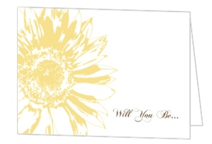 Simple Sunflower Brown and Yellow Will You Be My Flower Girl Card